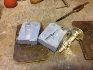 Removing the pewter from the mould