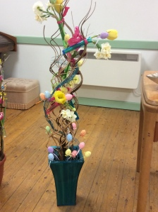 My easter flower arrangement complete with eggs!
