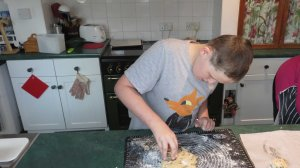 Luke cutting out his sweet scones