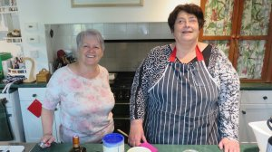 Lynn and Penny ready to cook