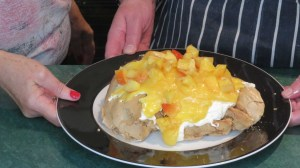 Finished pavlova with nectarine topping