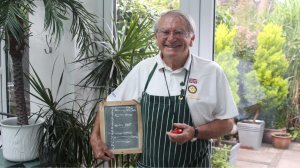 Roger is a gentleman of some maturity dressed in his stripey apron and with his blackboard of the cooking timings.